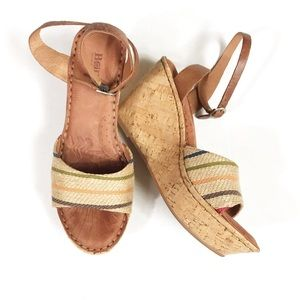 Born Leather & Multi-Color Striped Fabric Wedges